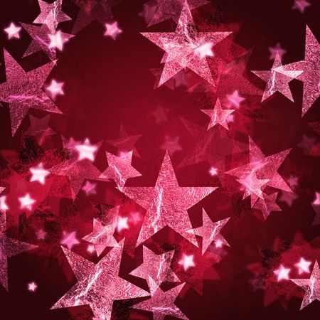 gleams: pink stars over dark wine-red background with feather center