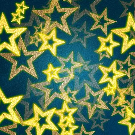 golden stars over blue background with feather center Stock Photo - 4017345