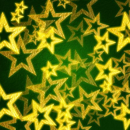 golden stars over green background with feather center Stock Photo - 4035182