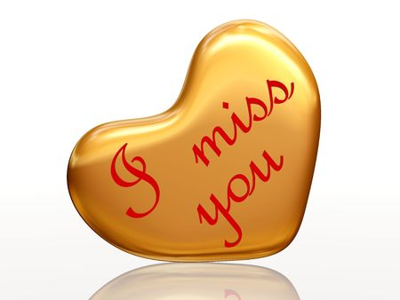 i miss you: 3d golden heart, red letters, text - I miss you, isolated