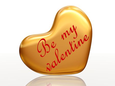 3d golden heart, red letters, text - Be my valentine, isolated photo