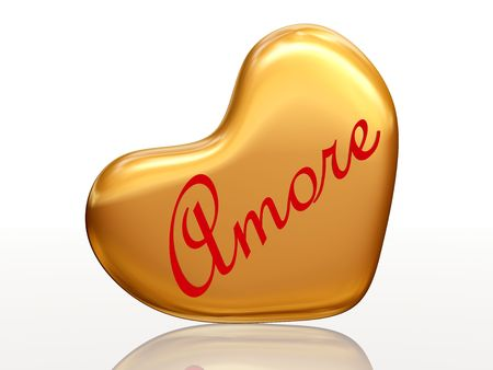 amore: 3d golden heart, red letters, text - Amore, isolated