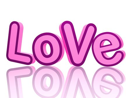 love declaration: 3d color letters in pink and violet, text - Love, isolated with reflection Stock Photo