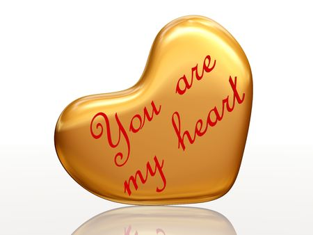 3d golden heart, red letters, text - You are my heart, isolated Stock Photo - 4151161