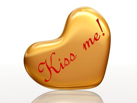 3d golden heart, red letters, text - Kiss me, isolated
