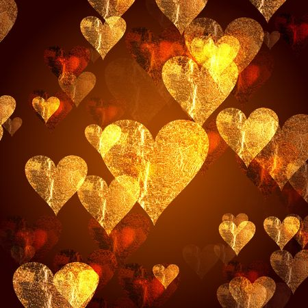 tenderly: golden and red hearts over gold background with feather center