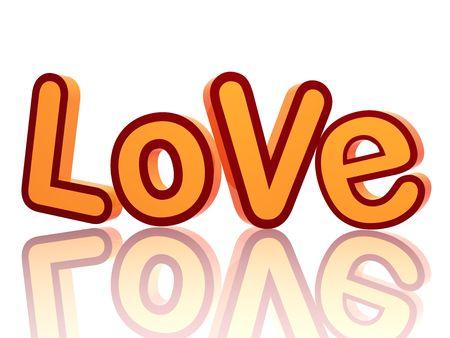 붉은 색과 오렌지색 텍스트 - 사랑, 반사와 격리 3d 컬러 편지