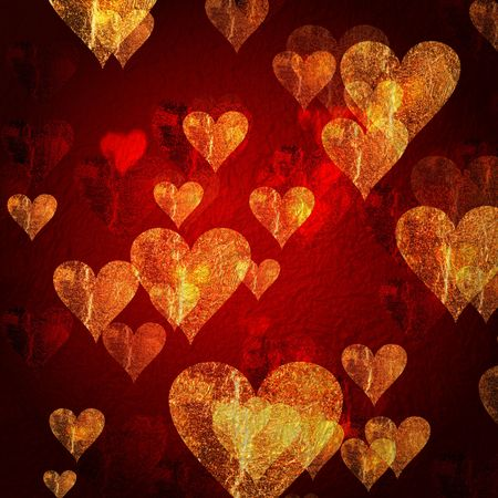 tenderly: red and golden hearts over red background with feather center