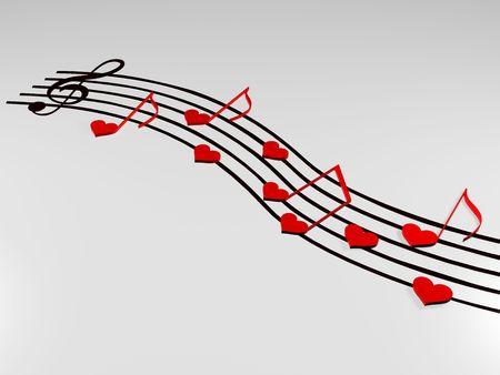 sentiment: 3d notes like red hearts and treble clef over music lines Stock Photo