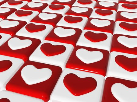 shah: many 3d red and white hearts over red and white chess-board, background Stock Photo