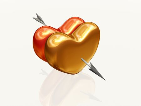 two 3d hearts, red and golden, pierced together by arrow photo