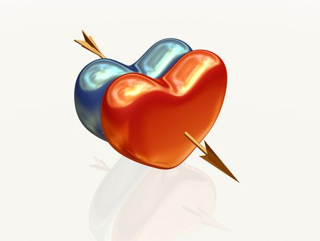 two 3d hearts, red and blue golden, pierced together by arrow Stock Photo - 4262706