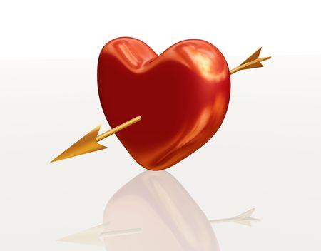 pierced: golden red 3d heart pierced by arrow Stock Photo