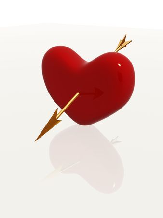 red 3d heart pierced by golden arrow photo