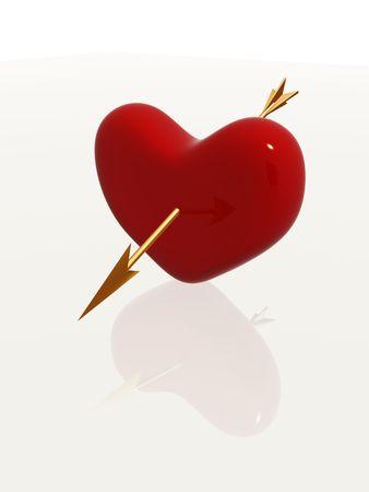 red 3d heart pierced by golden arrow Stock Photo - 4262711
