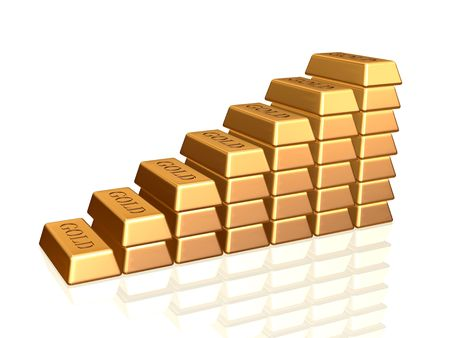 many 3d golden bullions like staircase with reflection, ingot, bar photo