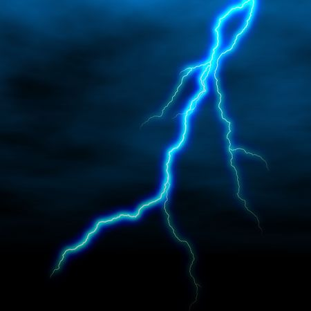 electrical white blue lightning over dark sky
