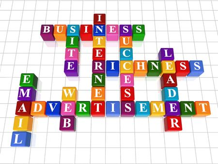 richness: 3d colour boxes crossword - advertisement; internet; site; web; business; success, leader; e-mail; richness