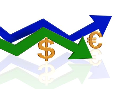 3d golden dollar and euro signs with gren and blue arrows photo