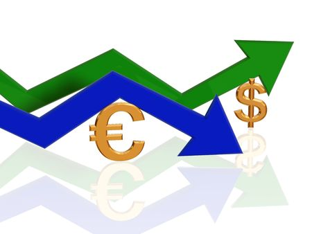 3d golden euro and dollar signs with blue and green arrows photo