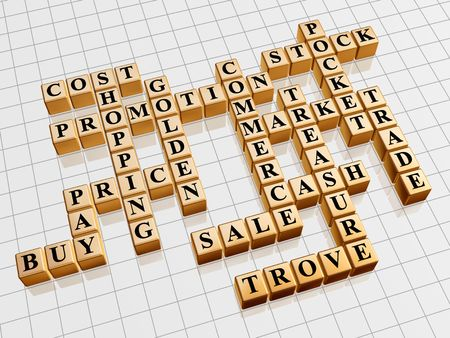 3d gold cubes with text - shopping; promotion; price; sale; market; cost; stock; cash; commerce; trade; buy; pay; pocket; treasure; trove; golden photo