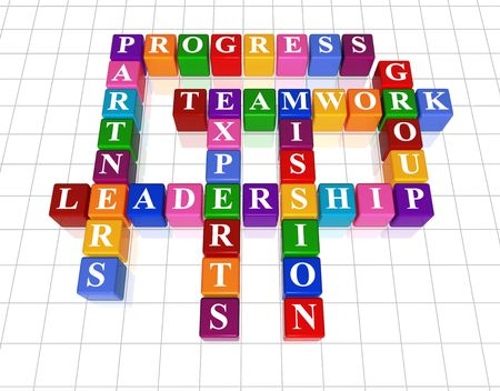 progressive: 3d golden cubes with text - leadership, partners, teamwork, group, experts, progress, mission