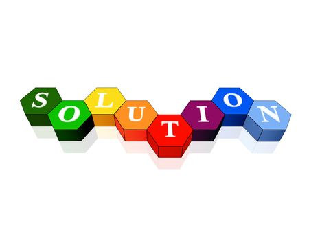 unravel: 3d colour cubes hexahedrons with white letters - solution, word, text