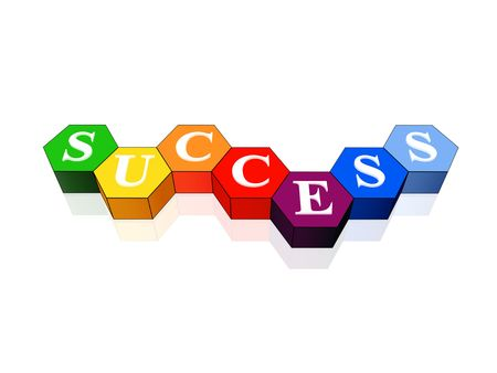 hexahedron: 3d colour cubes hexahedrons with white letters - success, word, text Stock Photo