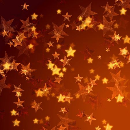 tenderly: golden stars over gold background with feather corner