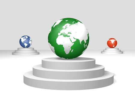 3d green, blue and red world globes on a pedestals photo