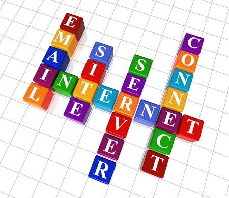 3d colour cubes crossword - internet; site; server; e-mail; connect Stock Photo - 4440379