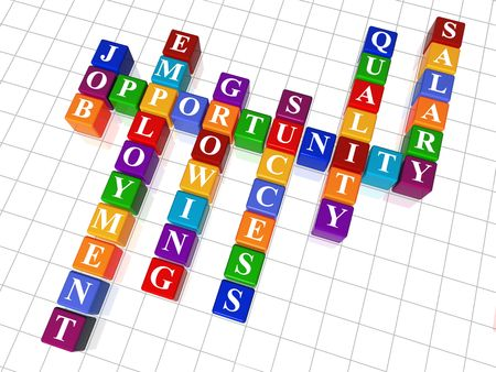 craft work: 3d colour cubes crossword - job; opportunity; employment; success, growing; quality, salary