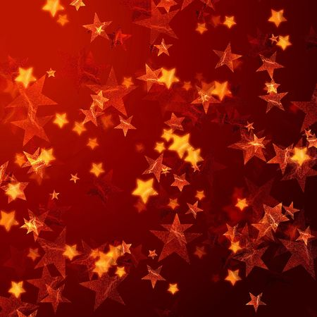 festiveness: golden red stars over red background with feather corner