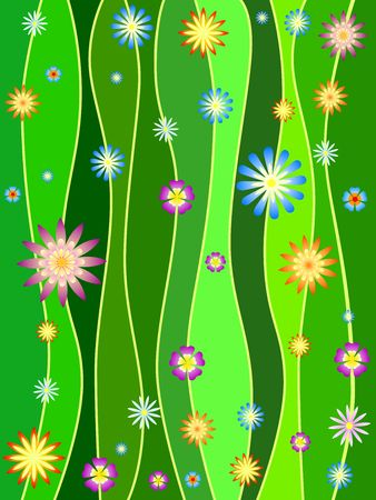 green lines with colourful flowers, spring motif photo