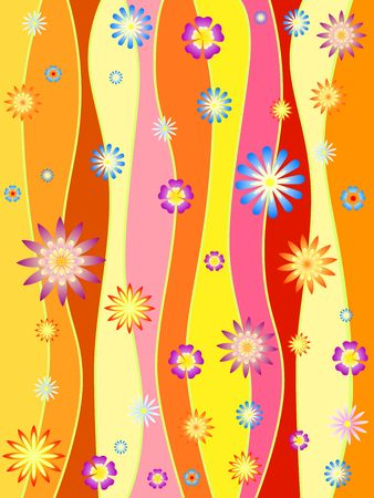 colours lines with colourful flowers, spring motif photo
