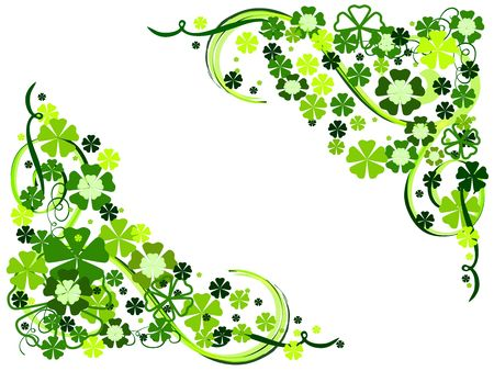 green flowers with floral ornaments, spring motif photo