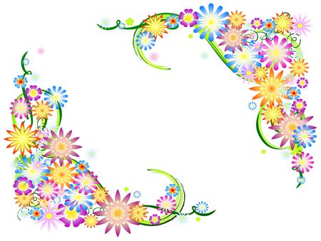 colours flowers with floral ornaments, spring motif Stock Photo - 4546553