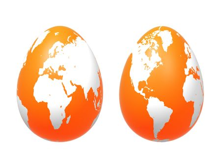 osterfest: two 3d orange eggs with earth texture over white background, isolated