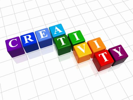 imaginative: 3d colour cubes with text - creativity, word Stock Photo
