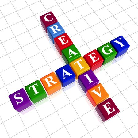 3d colour cubes with white letters like crossword with text - creative strategy Stock Photo - 4766921