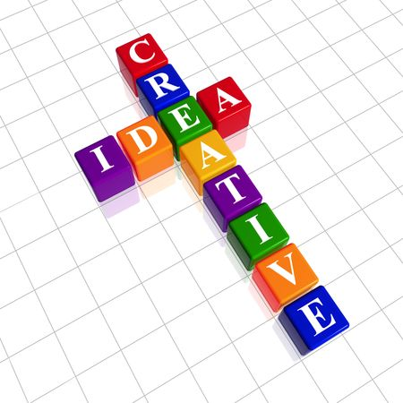 resourceful: 3d colour cubes with black letters like crossword with text - creative idea Stock Photo