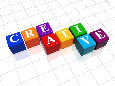 imaginative: 3d colour cubes with text - creative, word Stock Photo