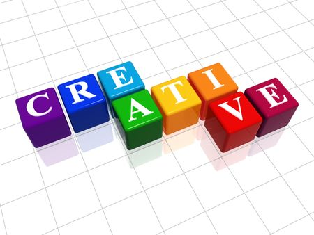 3d colour cubes with text - creative, word Stock Photo - 4872956