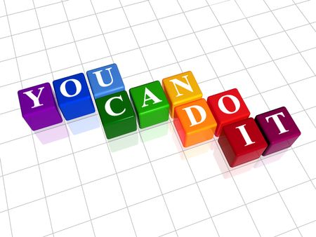 3d colour cubes with text - you can do it, word Stock Photo