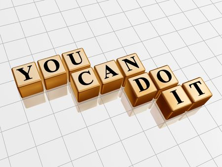aspirations ideas: 3d golden cubes with text - you can do it, word