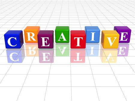 growing success: 3d colour cubes with text - creative, word, with reflection
