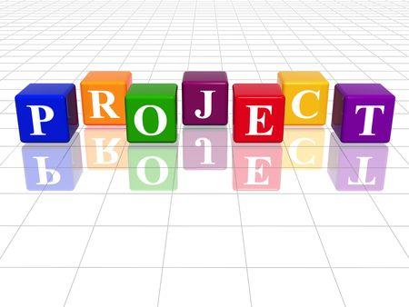3d cubos de colores con el texto - proyecto, la palabra, con la reflexión