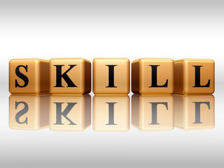 skillful: 3d golden cubes with text - skill, word, with reflection