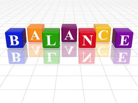 fondos violeta: 3d cubos de colores con el texto - el equilibrio, la palabra, con la reflexi�n