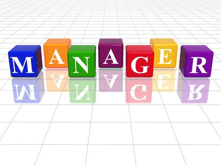 managerial: 3d colour cubes with text - manager, word, with reflection Stock Photo